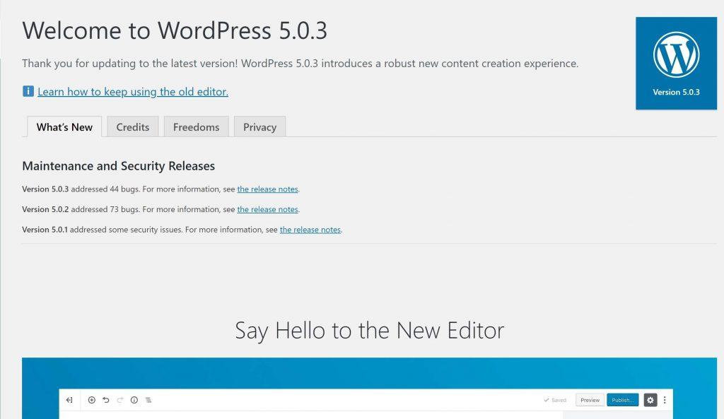 WordPress Gutenberg Welcome Page