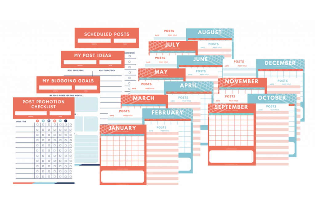 free blog planners and checklists