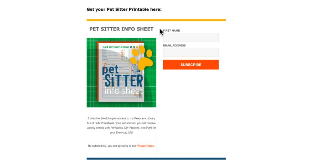 Grow your email list with printables.